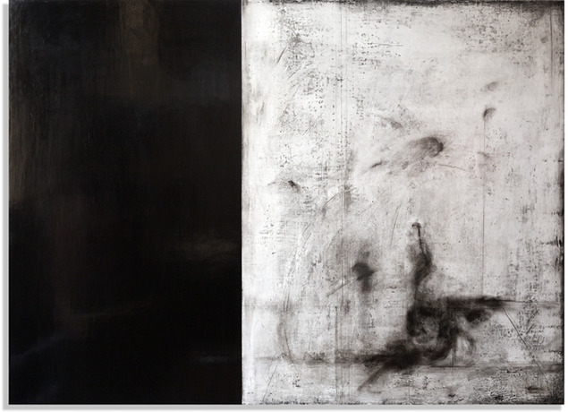 After Icarus 2.5' x 3.5' gesso sottile, charcoal, burnishing clay, pigment, carnauba wax on wood panel Private collection