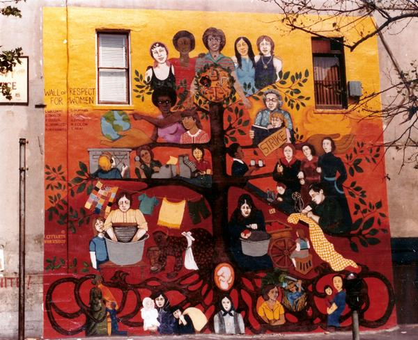 """Wall of Respect for Women"" c.1974 (Originally on the corner of East Broadway and Rutgers - this mural no longer exists.)"
