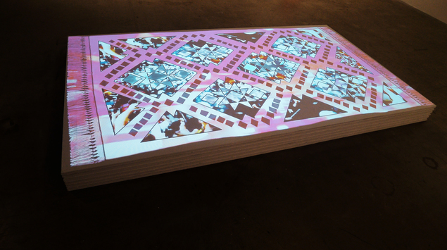 Stack, 2013 video projection of collaged youtube footage of NATO riots in Chicago Courtesy of the artist.