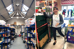 The food bank warehouse where Liza worked, and Liza running a food drive at a local grocery store.